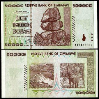 Zimbabwe 50 Trillion banknotes